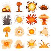 Explosion Effect Icons Set. Cartoon Illustration Of 16 Explosion Effect Icons For Web poster