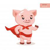 Funny Cartoon Pig Vector. Superhero Pig Cartoon Mascot Character Vector Illustration. Symbol Of The  poster