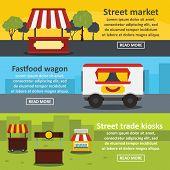 Street Food Banner Horizontal Concept Set. Flat Illustration Of 3 Street Food Trade Banner Horizonta poster