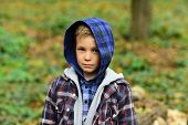 Casual And Boyish. Small Child In Casual Wear. Small Boy Play Outdoor. Little Child On Natural Lands poster