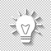 Old Bulb With Light. Simple Single Icon. White Icon With Shadow poster