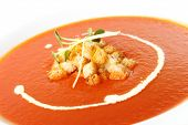 Delicious Tomato cream soup with crackers