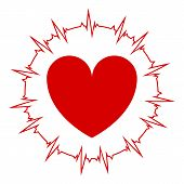 Heart On An Isolated Background With A Cardiogram Around The Heart. Vector Illustration Of Icons Of  poster