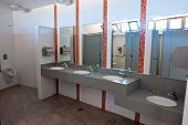 Public Empty Restroom Wc Toilet