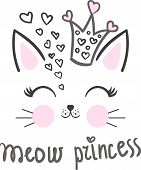 Meow. Princess. Cartoon, Cute Cat Wearing A Princess Crown With Hearts. For Design Prints, Poster An poster