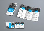 Tri-fold Vector Brochure Template With Blue Rectangular Elements For Headers. poster