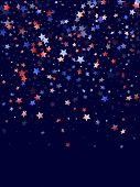 American Patriot Day Stars Background. Holiday Confetti In Us Flag Colors For Patriot Day.  Banner R poster