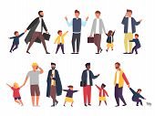 Busy Father With Naughty Kids. Parents With Children. Vector Illustration poster