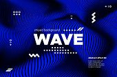 Blue Abstract Poster With Distorted Lines. Striped Background With Movement. 3d Linear Banner With R poster