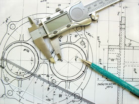 image of mechanical drawing  - engineer tools on a technical drawing - JPG