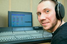 image of recording studio  - man in the music recording studio - JPG
