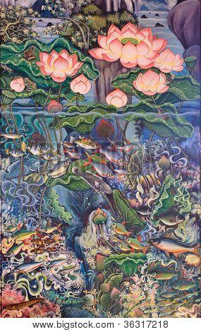 Постер, плакат: Тайский живопись искусство, холст на подрамнике