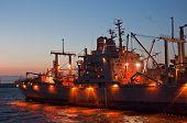Navy Ship At Night