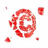 Copyright Symbol Broken Into Pieces Isolated