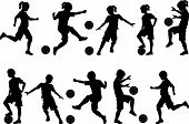 pic of boy girl shadow  - Soccer Players Silhouettes of Kids  - JPG