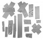 image of gaffer tape  - Duct repair tape silver patterns kit isolated - JPG