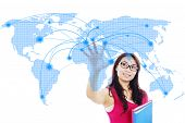 image of earth structure  - Portrait of female college student with global networking design - JPG