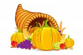 stock photo of cornucopia  - vector illustration of Thanksgiving cornucopia with vegetable - JPG