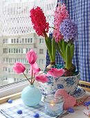 Romantic Composition With A Cyclamens And Hyacinths