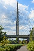 stock photo of paul revere  - Zakim bridge from Paul Revere park in Boston Massachusetts  - JPG