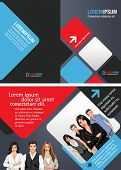 Blue and red template for advertising brochure with business people