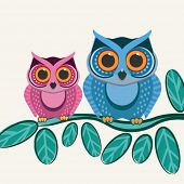 Couple owls birds on a tree branch. Vector background.
