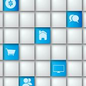 Blue squares with Pictograms - Realistic 3D Vector Background