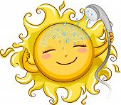 Illustration of a Cheerful Sun Showering with a Telephone Shower