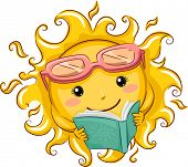 picture of bookworm  - Illustration of a Relaxed Sun Reading a Book - JPG