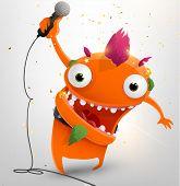Rockstar funny character, vector illustration