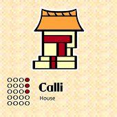 Aztec calendar symbols - Calli or house (3)