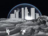Lunar city and astronaut