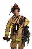 Firefighter holding mask and airpack fully protective suit on isolated white background