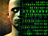 stock photo of cyborg  - A cyborg face gradually fades into some binary code stream - JPG