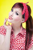Cheerful pin up girl - retro style portrait