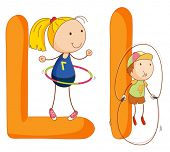 stock photo of hulahoop  - Illustration of children in a letter of alphabet - JPG
