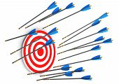 picture of missing  - Red target with missed arrows on the white background - JPG