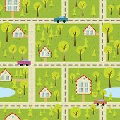 Seamless Pattern With Light Asphalt And Houses