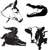 picture of horses ass  - illustration of various farm animals silhouettes - JPG