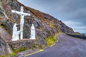 Crucifix at the road on Dingle peninsula, Ireland