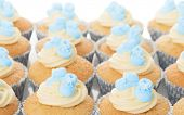 Close up of baby shower cupcakes decorated with little blue booties
