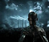 picture of sci-fi  - Human like figure stands before grime city - JPG
