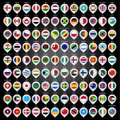 stock photo of state shapes  - 108 Map marker with flags - JPG