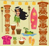 Hawaii Symbols and Icons, including Hula dancer, tiki gods, totem pole, drums, tiki torches and Hawa