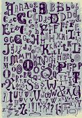 image of hand alphabet  - Whimsical Hand Drawn Alphabet Letters - JPG
