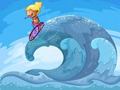 Illustration of a young girl surfing