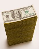 Cash Stack Of 100 Dollar Bills