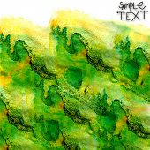 background hand art watercolor green brush texture isolated