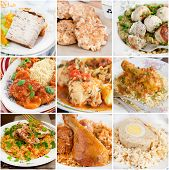 stock photo of meatloaf  - Collage of chicken dishes - JPG