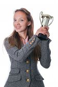 Young Girl Holding Trophy Cup